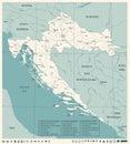 Croatia Map - Vintage Detailed Vector Illustration Royalty Free Stock Photo