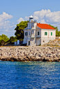 Croatia, Prisnjak Lighthouse on an islet of Murter archipelago Royalty Free Stock Photo