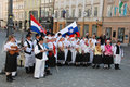 Croatia s accession to eu croatian and slovenian folk groups with flags at wellcome celebration at with cultural program Stock Image
