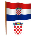Croatia wavy flag and coat of arms against white background vector art illustration image contains transparency Royalty Free Stock Photography