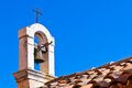 Croatian Church Roof on Blue Sky Background Stock Photo