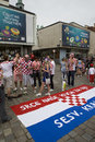 Croatian fans Stock Photo