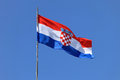 Croatian flag national flying at windy day Royalty Free Stock Image