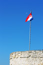 Croatian flag on the top of the fortress Royalty Free Stock Images