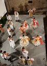Croatian folk dance dnacers demonstrate their techniques in dubrovnick croatia Stock Image