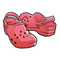 Croc shoes cartoon . Royalty Free Stock Photo