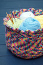 Crochet hooks bunch of in multicoloured hand crocheted basket with yarn skeins Stock Image