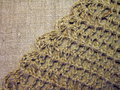 Crochet on linen fabric can use as background Royalty Free Stock Photo
