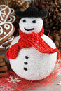Crochet snowman handmade christmas fat Royalty Free Stock Photo