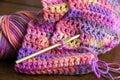 Crochet, Yarn and Crochet Hook Royalty Free Stock Photo