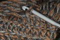 Crochet yarn hook and knitting gray and brown Stock Images