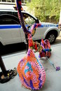 Crocheted bike in Manhattan street Stock Photo