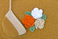 Crocheted flowers Stock Photos