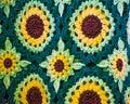 Crocheted Sunflower Afghan Blanket, Yarn Royalty Free Stock Photo
