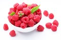 Crockery with  beautiful tempting raspberries. Royalty Free Stock Photo