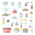 Crockery and cooking flat icon square vector set.