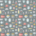 Crockery and cooking flat seamless vector pattern.