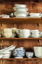 Crockery in the wood larder wooden pantry kitchen Royalty Free Stock Photo