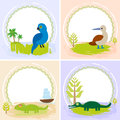 Crocodile, alligator, iguana, parrot bird, booby, set of cards design with funny animals, template banner for your text
