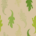 Crocodile animal seamless pattern green beige background illustration