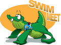 Crocodile Baby Swim Meet Stock Photo