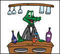 Crocodile bartender Royalty Free Stock Photography