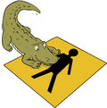 Crocodile beware sign cartoon on a with human icon Royalty Free Stock Photography