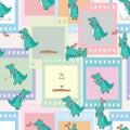 Crocodile bird feather story film seamless