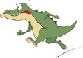 Crocodile cartoon going green with big red language Stock Photo