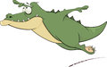 Crocodile cartoon green flying with the big teeth Royalty Free Stock Photo