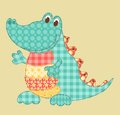 Crocodile childrens application patchwork series cartoon illustration Stock Image
