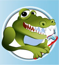 Crocodile cleaning teeth Royalty Free Stock Photos