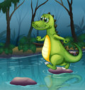 A crocodile crossing the pond illustration of Stock Images