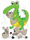 Crocodile cruel illustration of damaged bear toy Royalty Free Stock Photo