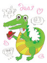 Crocodile cute illustration of love and enjoy life Royalty Free Stock Photography