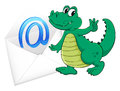 A crocodile with mail envelop illustration of on white Stock Image