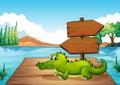 A crocodile near the pond illustration of Royalty Free Stock Photo