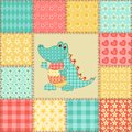 Crocodile patchwork pattern vintage seamless cartoon background Royalty Free Stock Photos