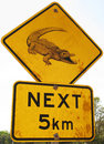 Crocodile road sign Royalty Free Stock Image