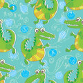 Crocodile seamless pattern illustration of with cute doddle Stock Photos
