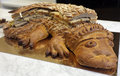 Crocodile shaped pastry with sandwiches on Royalty Free Stock Photo