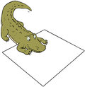 Crocodile and sign smiling staring at blank Royalty Free Stock Photography