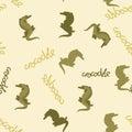 Crocodile stylized vector seamless pattern on background