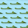 Crocodile in water seamless pattern.