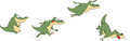 Crocodiles set various green a crocodile Royalty Free Stock Photography