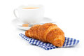Croissant with caffee cup. Royalty Free Stock Photo