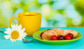 Croissant with cherries and coffee Royalty Free Stock Photography