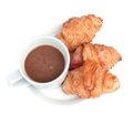 Croissant with  coffee. Stock Photo