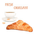 Croissant and coffee fresh crusty black in background isolated on white Royalty Free Stock Photo