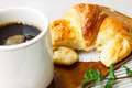 Croissant with coffee in the morning Royalty Free Stock Photo